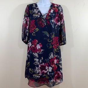 IZ Byer Floral Lined Semi Sheer Sleeve Dress  Sz M